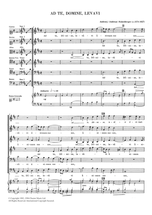 Download Andreas Hakenberger 'Ad Te, Domine, Levavi' Digital Sheet Music Notes & Chords and start playing in minutes