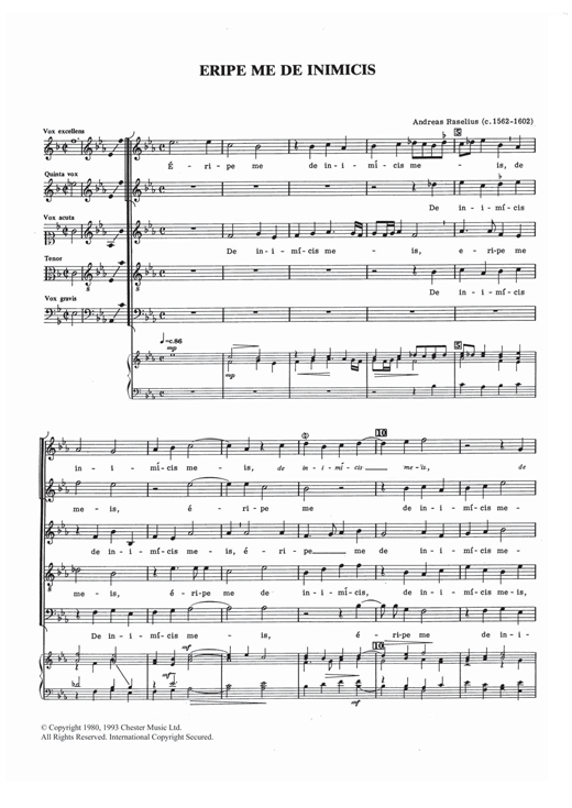 Download Andreas Raselius 'Eripe Me De Inimicis' Digital Sheet Music Notes & Chords and start playing in minutes
