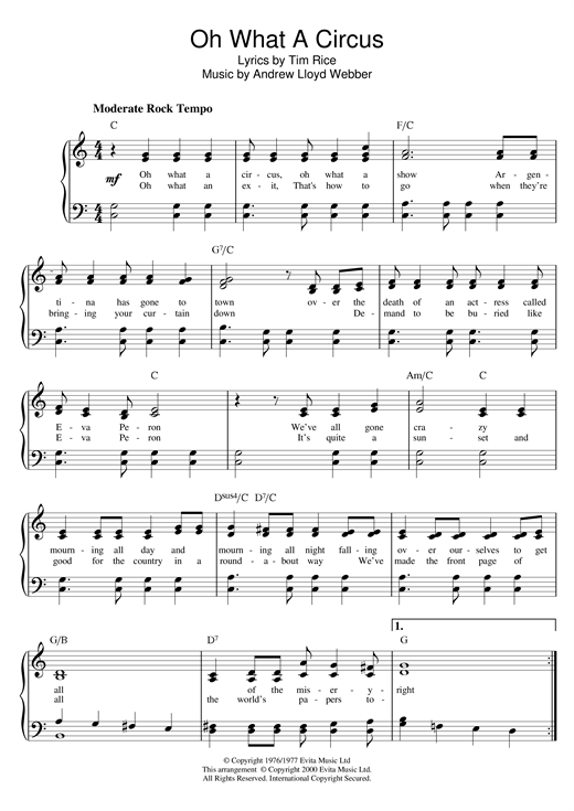 Download Andrew Lloyd Webber 'Oh What A Circus (from Evita)' Digital Sheet Music Notes & Chords and start playing in minutes