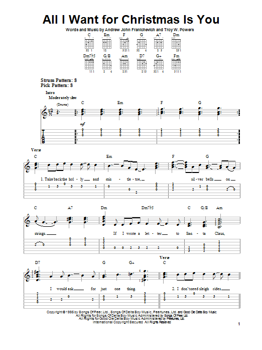 Andrew John Franichevich All I Want For Christmas Is You sheet music preview music notes and score for Easy Guitar Tab including 3 page(s)