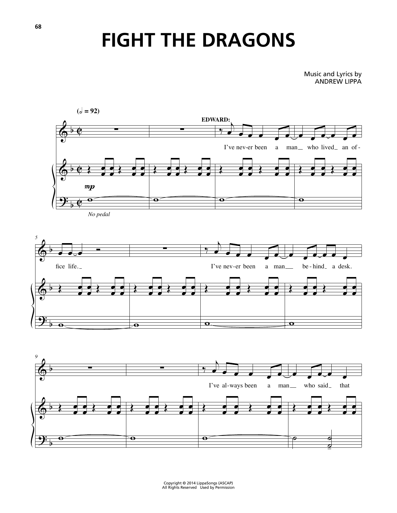 Download Andrew Lippa 'Fight The Dragons' Digital Sheet Music Notes & Chords and start playing in minutes