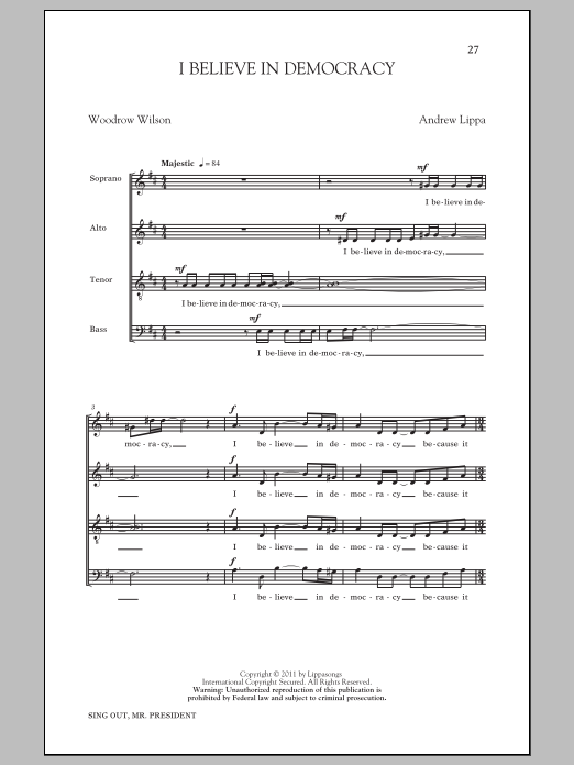 Download Andrew Lippa 'I Believe In Democracy' Digital Sheet Music Notes & Chords and start playing in minutes