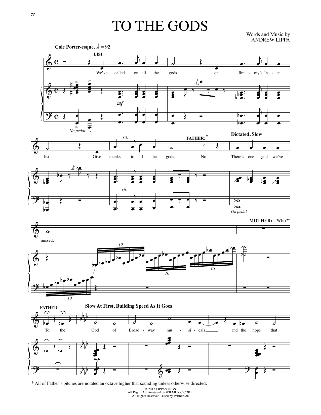 Andrew Lippa To The Gods (from The Man In The Ceiling) sheet music preview music notes and score for Piano & Vocal including 10 page(s)