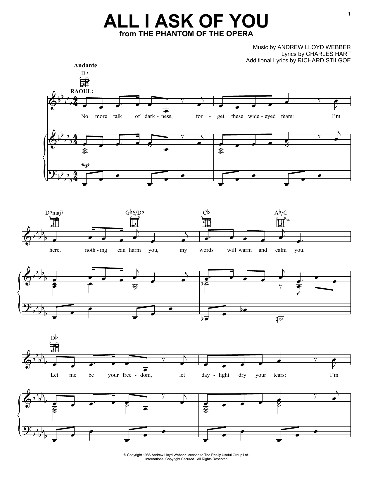 Download Andrew Lloyd Webber 'All I Ask Of You (from The Phantom Of The Opera)' Digital Sheet Music Notes & Chords and start playing in minutes