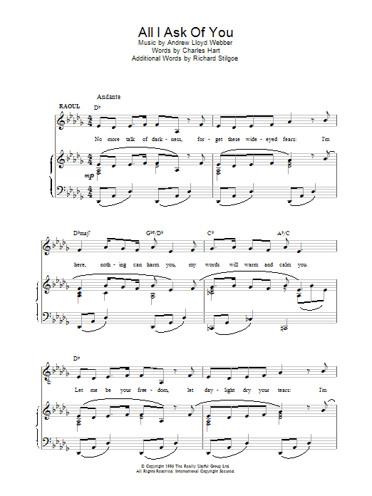 Andrew Lloyd Webber All I Ask Of You (from The Phantom Of The Opera) sheet music preview music notes and score for Piano including 4 page(s)