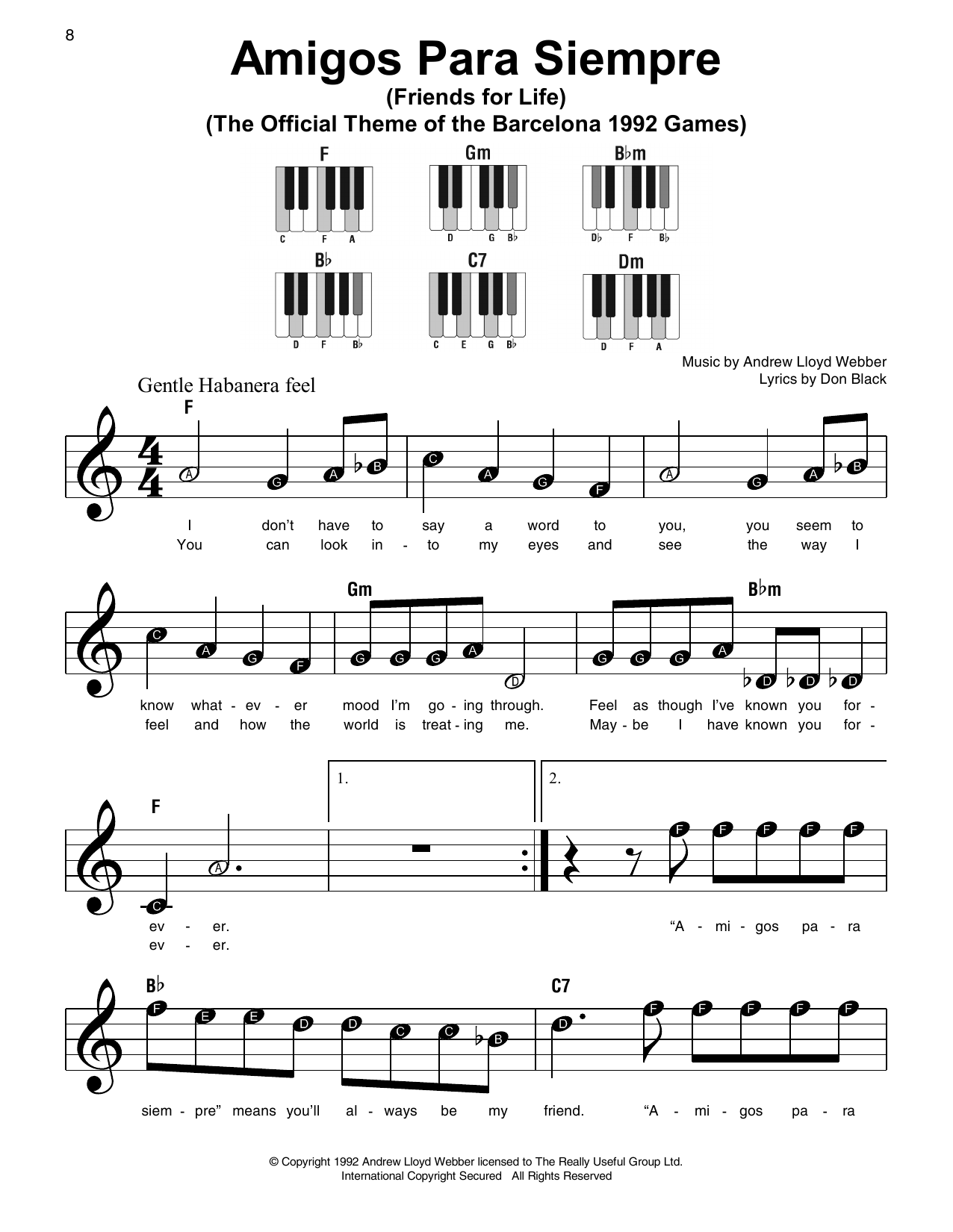 Download Andrew Lloyd Webber 'Amigos Para Siempre (Friends For Life)' Digital Sheet Music Notes & Chords and start playing in minutes