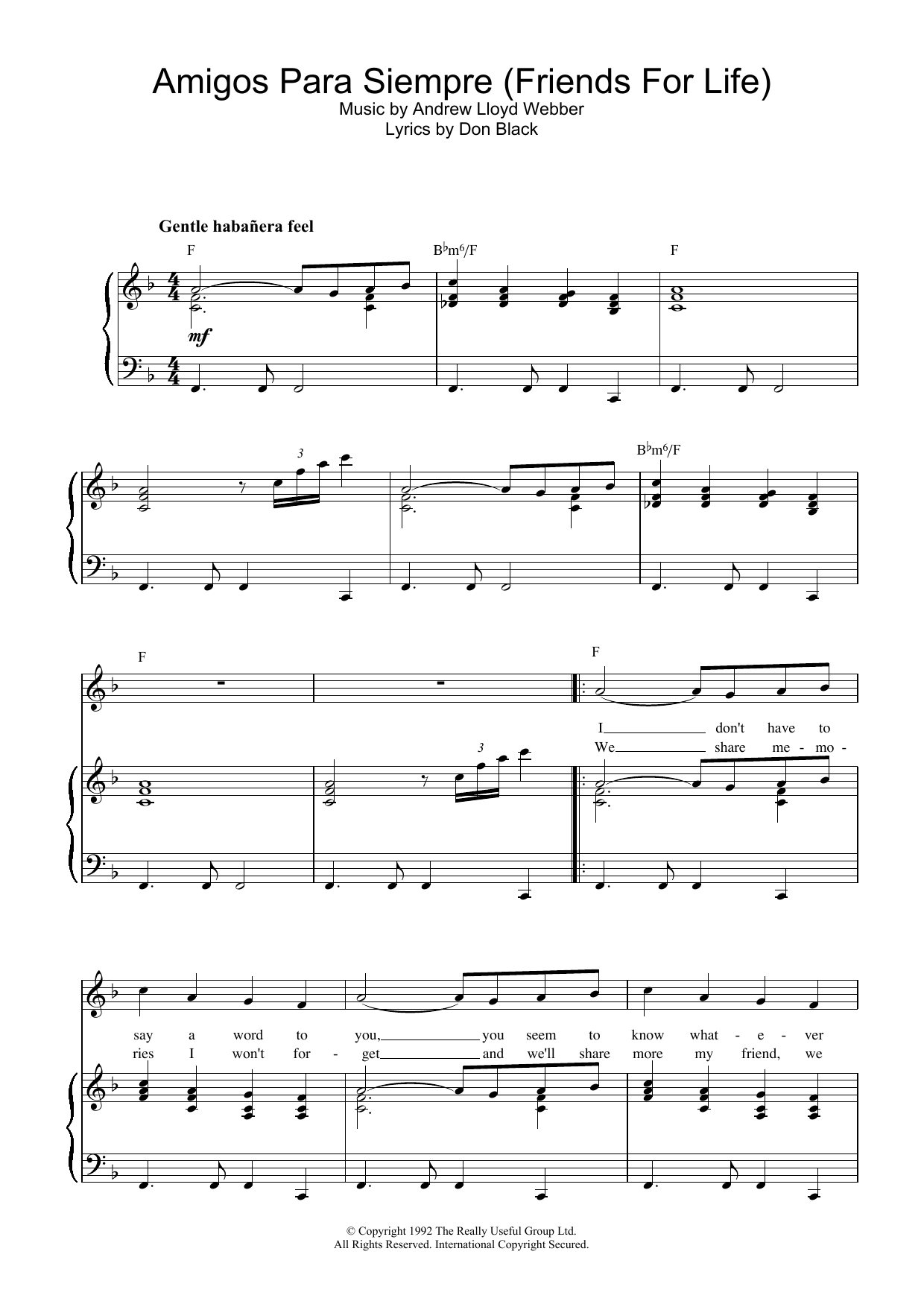 Andrew Lloyd Webber Amigos Para Siempre (Friends For Life) sheet music preview music notes and score for Piano, Vocal & Guitar (Right-Hand Melody) including 6 page(s)