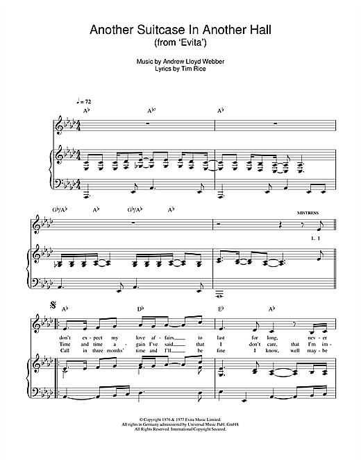 Andrew Lloyd Webber Another Suitcase In Another Hall (from Evita) sheet music notes and chords