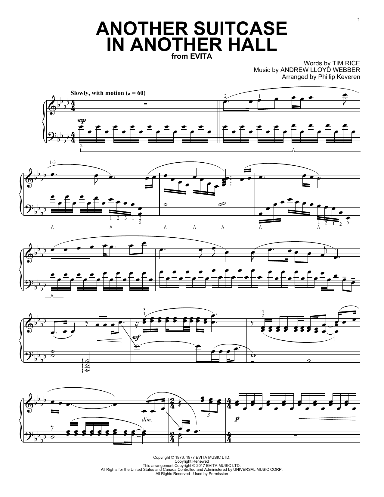 Download Phillip Keveren 'Another Suitcase In Another Hall' Digital Sheet Music Notes & Chords and start playing in minutes