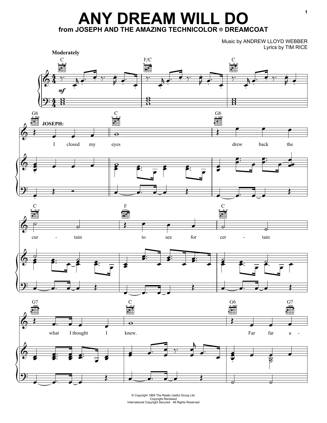 Download Andrew Lloyd Webber 'Any Dream Will Do' Digital Sheet Music Notes & Chords and start playing in minutes