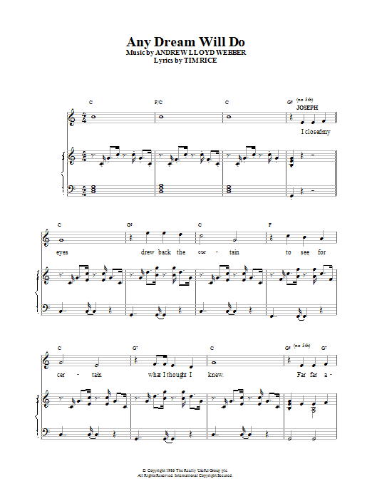 Andrew Lloyd Webber Any Dream Will Do (from Joseph And The Amazing Technicolor Dreamcoat) sheet music preview music notes and score for Piano including 4 page(s)
