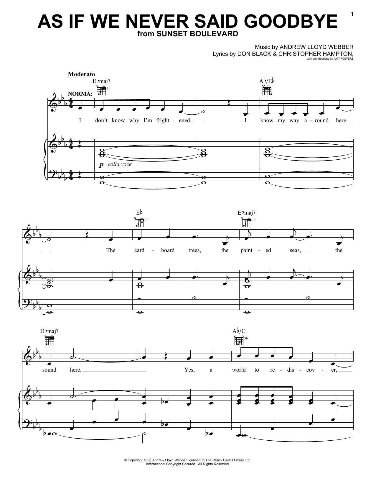 Andrew Lloyd Webber As If We Never Said Goodbye sheet music notes and chords