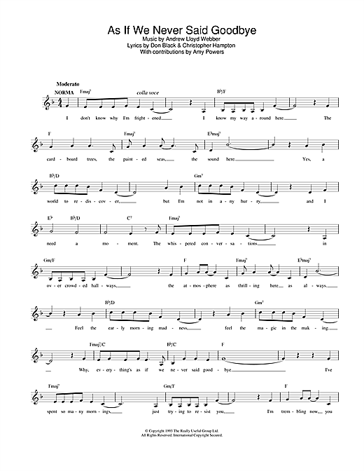 Andrew Lloyd Webber As If We Never Said Goodbye (from Sunset Boulevard) sheet music preview music notes and score for Piano, Vocal & Guitar (Right-Hand Melody) including 9 page(s)