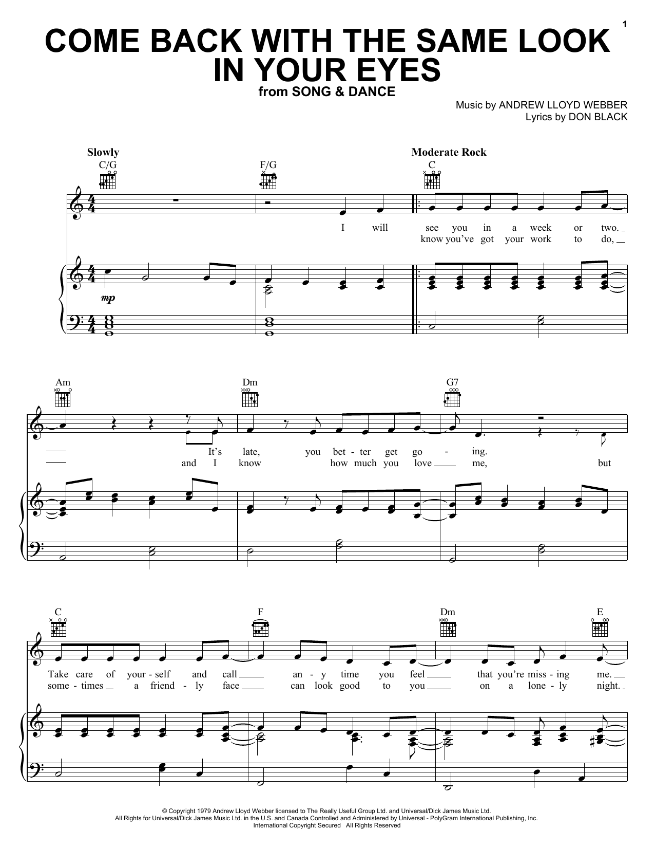 Andrew Lloyd Webber Come Back With The Same Look In Your Eyes sheet music preview music notes and score for Piano, Vocal & Guitar (Right-Hand Melody) including 5 page(s)