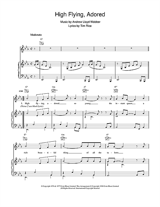 Download Andrew Lloyd Webber 'High Flying, Adored (from Evita)' Digital Sheet Music Notes & Chords and start playing in minutes