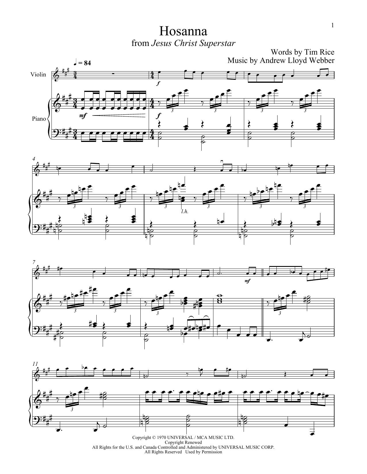 Download Andrew Lloyd Webber 'Hosanna (from Jesus Christ Superstar)' Digital Sheet Music Notes & Chords and start playing in minutes