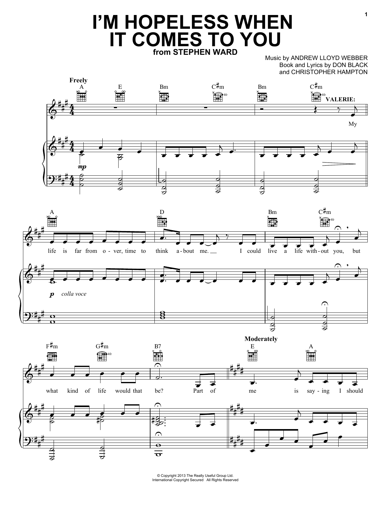 Download Andrew Lloyd Webber 'I'm Hopeless When It Comes To You (from Stephen Ward)' Digital Sheet Music Notes & Chords and start playing in minutes