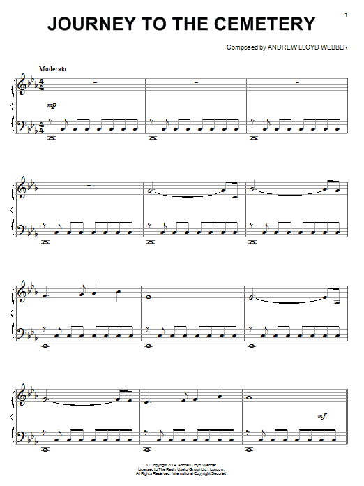 Download Andrew Lloyd Webber 'Journey To The Cemetery' Digital Sheet Music Notes & Chords and start playing in minutes
