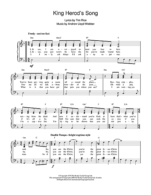 Andrew Lloyd Webber King Herod's Song (from Jesus Christ Superstar) sheet music notes and chords