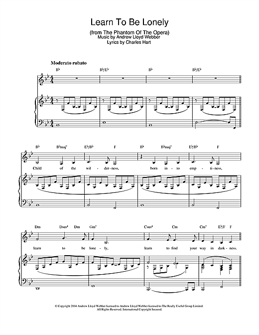 Download Andrew Lloyd Webber 'Learn To Be Lonely (from The Phantom Of The Opera)' Digital Sheet Music Notes & Chords and start playing in minutes