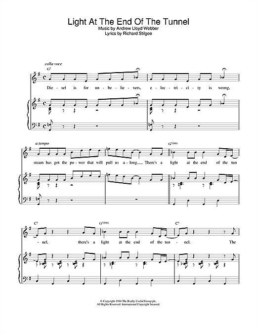 Download Andrew Lloyd Webber 'Light At The End Of The Tunnel (from Starlight Express)' Digital Sheet Music Notes & Chords and start playing in minutes
