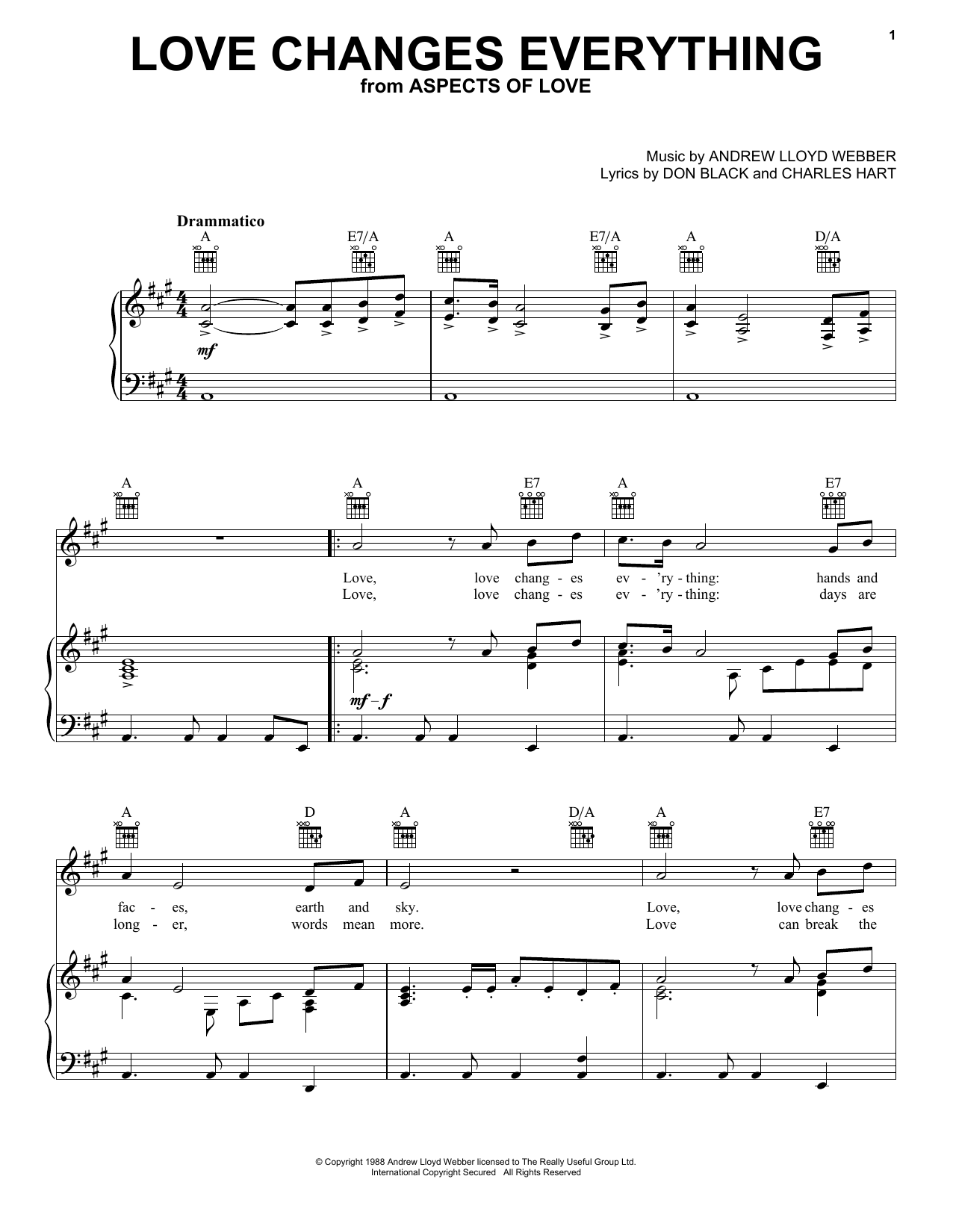 Andrew Lloyd Webber Love Changes Everything sheet music preview music notes and score for Piano, Vocal & Guitar (Right-Hand Melody) including 5 page(s)