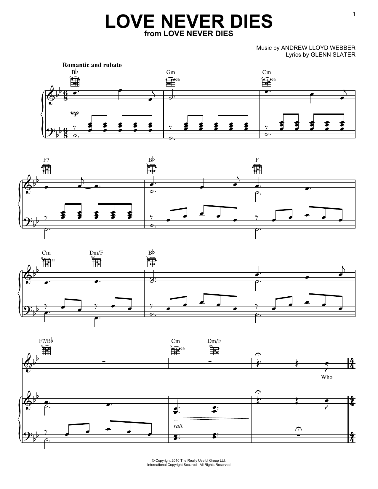 Download Andrew Lloyd Webber 'Love Never Dies' Digital Sheet Music Notes & Chords and start playing in minutes