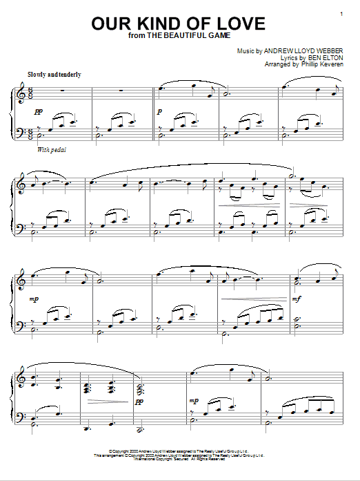 Download Andrew Lloyd Webber 'Our Kind Of Love (from The Beautiful Game)' Digital Sheet Music Notes & Chords and start playing in minutes