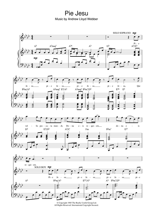 Download Andrew Lloyd Webber 'Pie Jesu (from Requiem)' Digital Sheet Music Notes & Chords and start playing in minutes