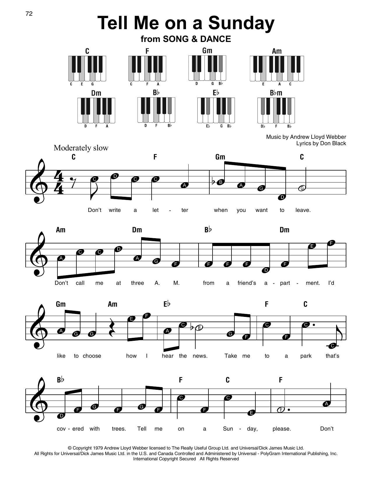 Andrew Lloyd Webber Tell Me On A Sunday sheet music notes and chords