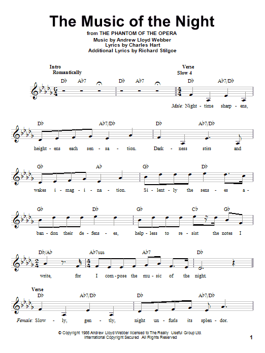 Download Andrew Lloyd Webber 'The Music Of The Night (from The Phantom Of The Opera)' Digital Sheet Music Notes & Chords and start playing in minutes
