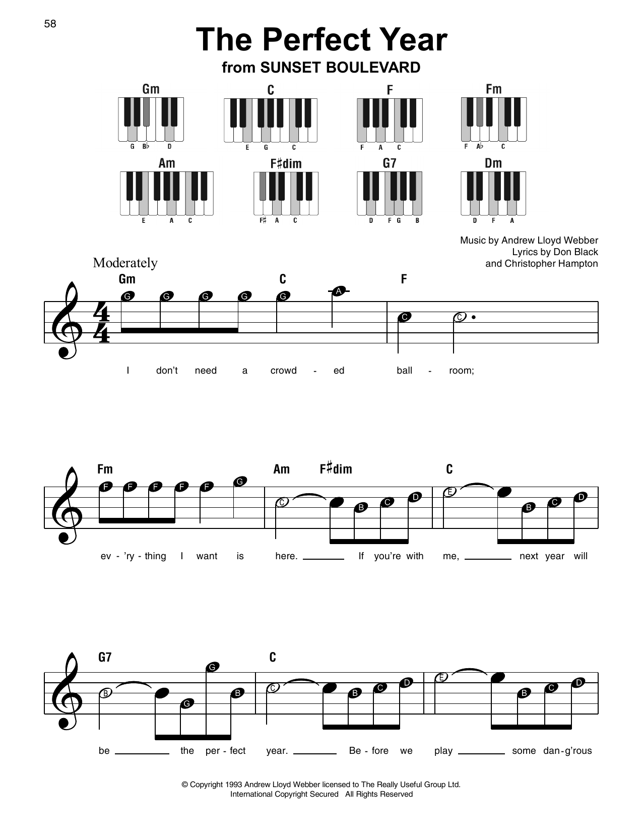 Andrew Lloyd Webber The Perfect Year sheet music notes and chords