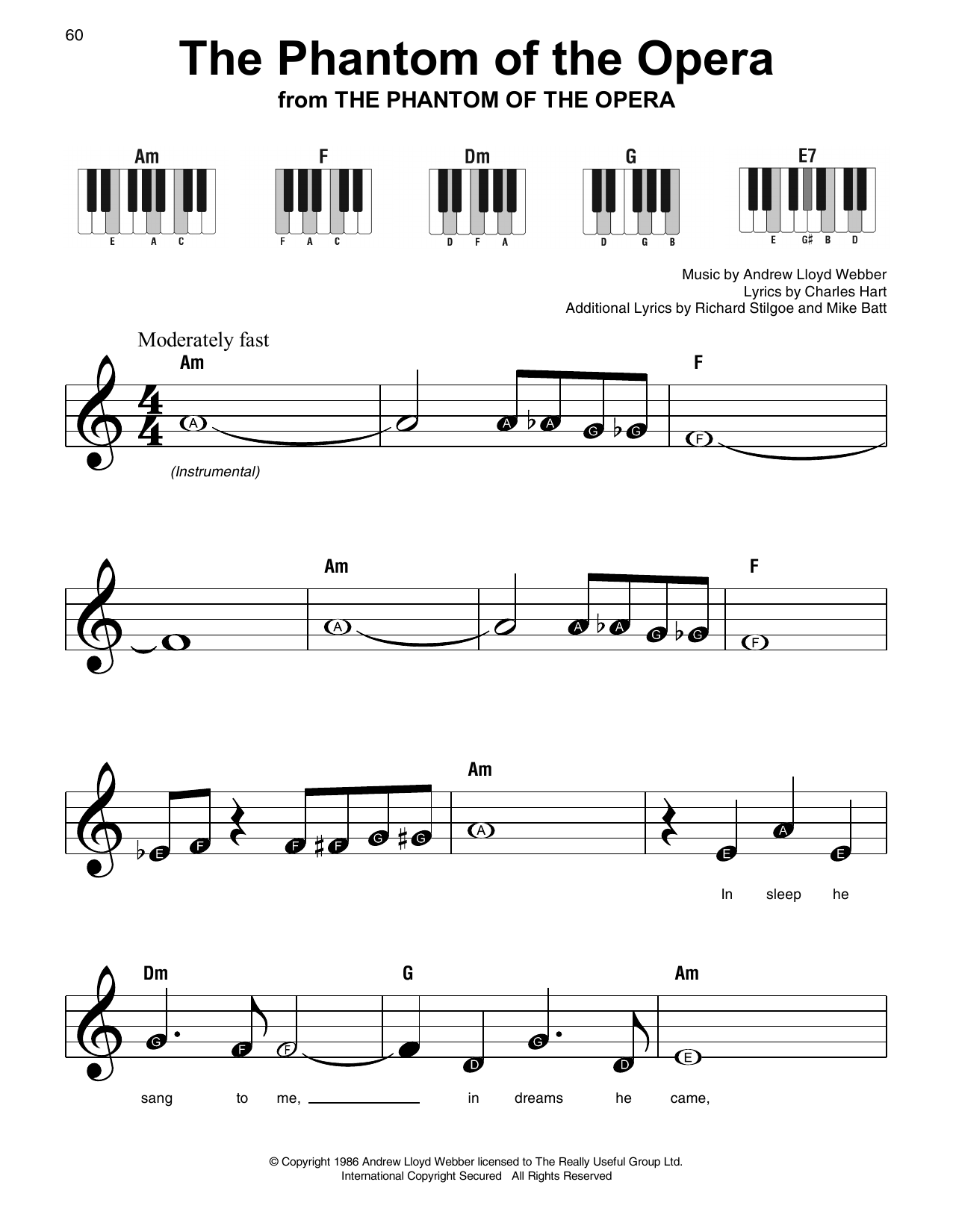Download Andrew Lloyd Webber 'The Phantom Of The Opera' Digital Sheet Music Notes & Chords and start playing in minutes