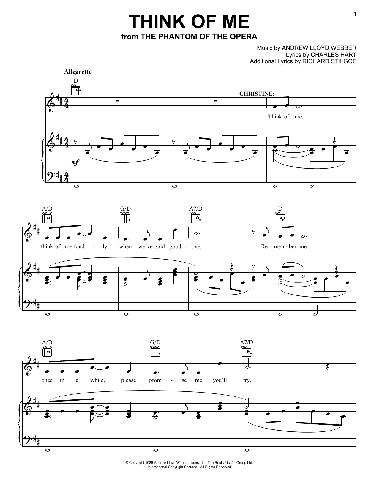 Andrew Lloyd Webber Think Of Me (from The Phantom Of The Opera) sheet music preview music notes and score for Piano (Big Notes) including 3 page(s)