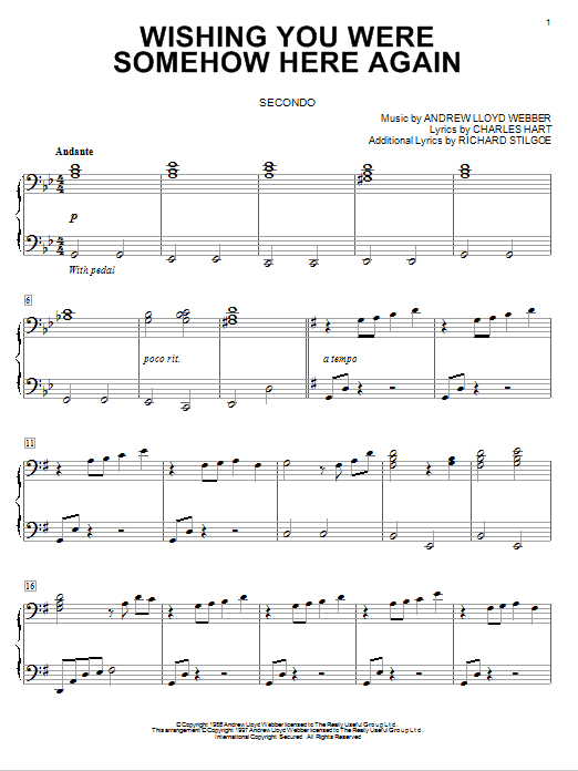 Download Andrew Lloyd Webber 'Wishing You Were Somehow Here Again (from The Phantom Of The Opera)' Digital Sheet Music Notes & Chords and start playing in minutes