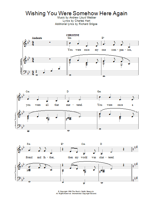 Andrew Lloyd Webber Wishing You Were Somehow Here Again (from The Phantom Of The Opera) sheet music preview music notes and score for Piano (Big Notes) including 3 page(s)