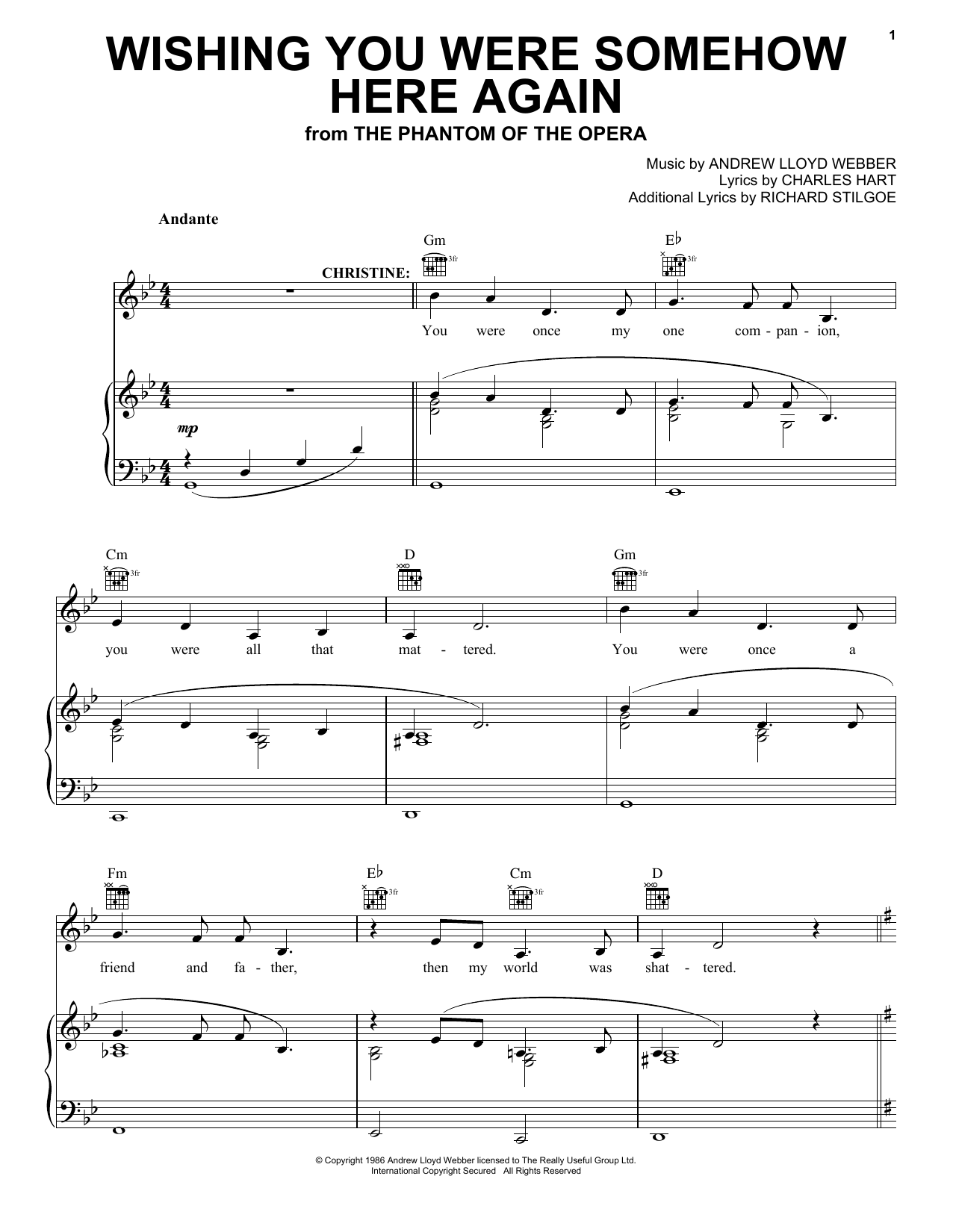 Andrew Lloyd Webber Wishing You Were Somehow Here Again (from The Phantom Of The Opera) sheet music preview music notes and score for Piano, Vocal & Guitar (Right-Hand Melody) including 5 page(s)