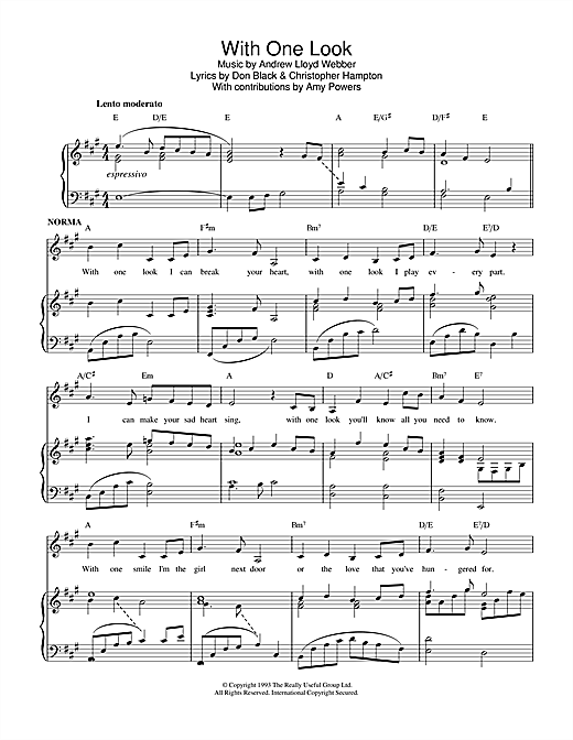 Download Andrew Lloyd Webber 'With One Look (from Sunset Boulevard)' Digital Sheet Music Notes & Chords and start playing in minutes