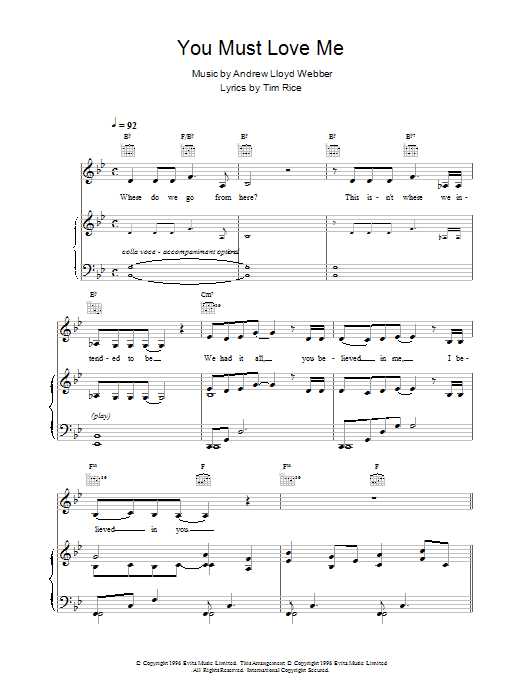 Andrew Lloyd Webber You Must Love Me sheet music preview music notes and score for Piano, Vocal & Guitar (Right-Hand Melody) including 3 page(s)