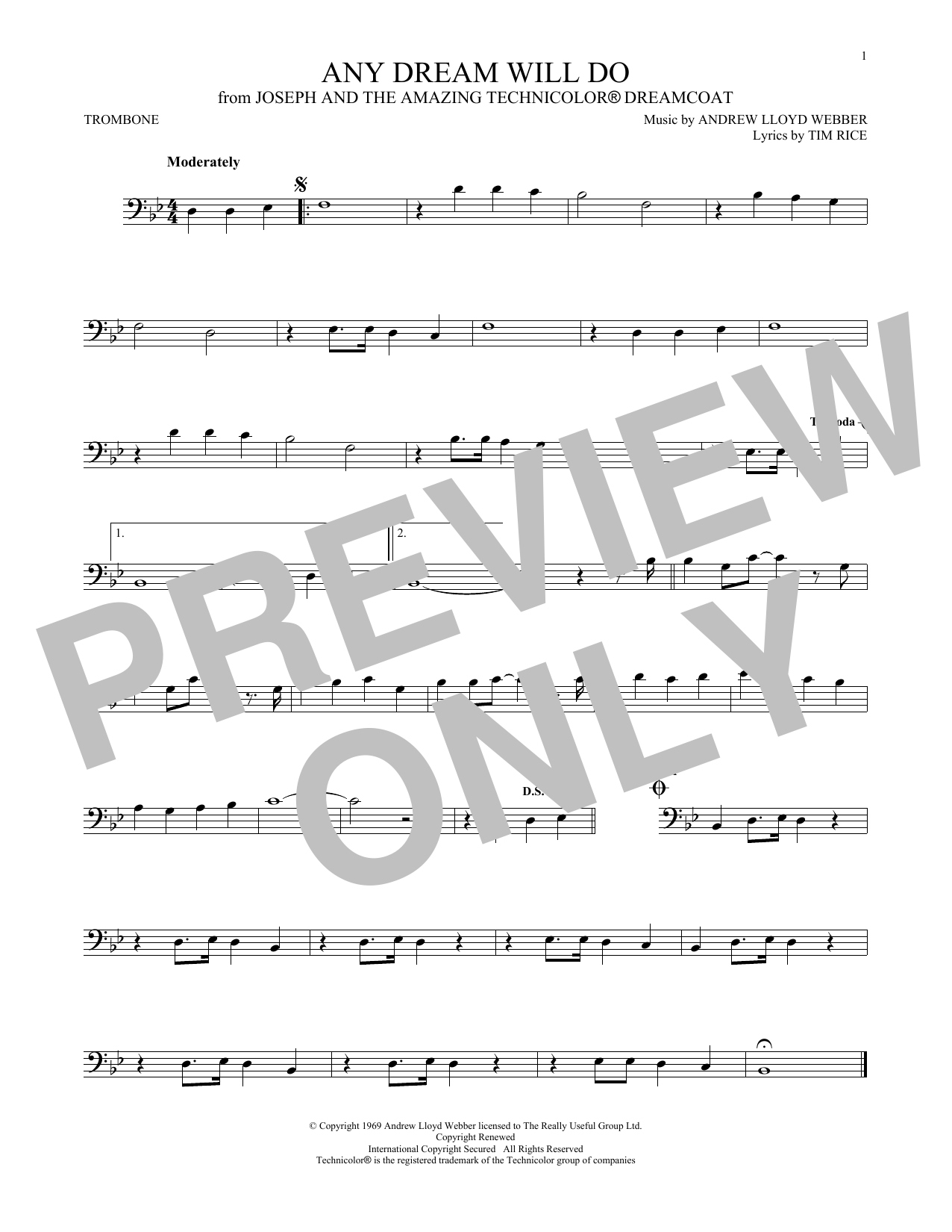 Download Andrew Lloyd Webber & Tim Rice 'Any Dream Will Do (from Joseph And The Amazing Technicolor Dreamcoat)' Digital Sheet Music Notes & Chords and start playing in minutes