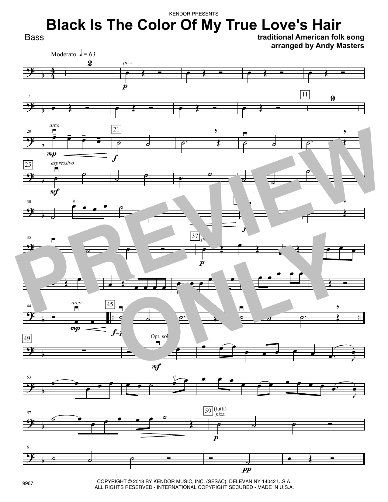 Andy Masters Black Is The Color of My True Love's Hair - Bass sheet music preview music notes and score for Orchestra including 1 page(s)