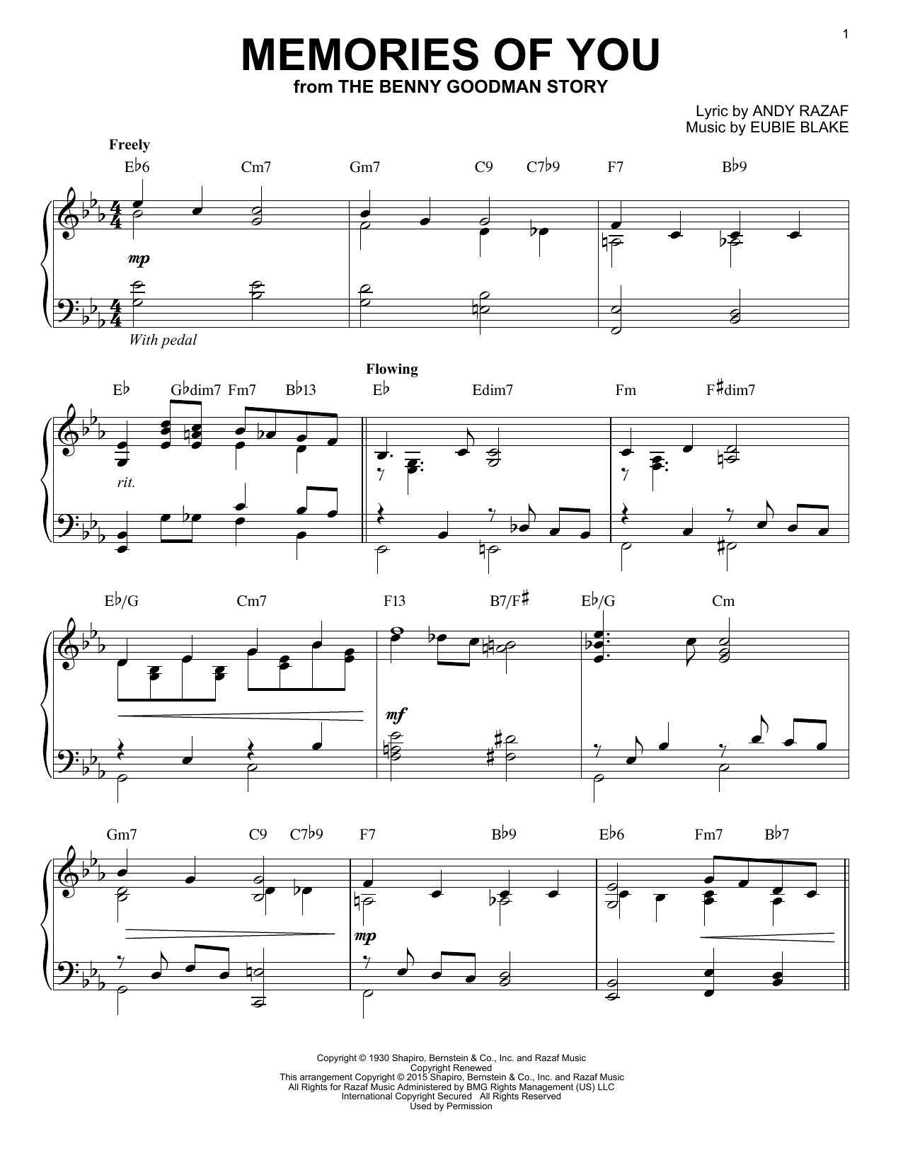 Download Eubie Blake 'Memories Of You' Digital Sheet Music Notes & Chords and start playing in minutes
