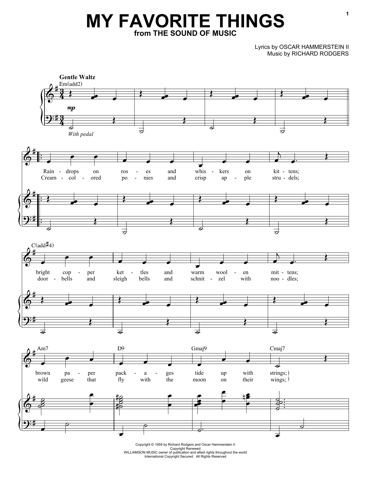Download Andy Williams 'My Favorite Things (from The Sound Of Music)' Digital Sheet Music Notes & Chords and start playing in minutes