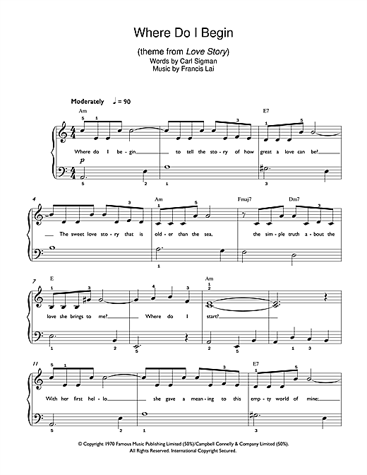 Download Andy Williams 'Where Do I Begin (theme from Love Story)' Digital Sheet Music Notes & Chords and start playing in minutes