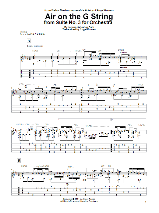 Angel Romero Air On The G String sheet music preview music notes and score for Guitar Tab including 2 page(s)
