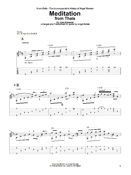 Angel Romero Meditation sheet music preview music notes and score for Guitar Tab including 5 page(s)