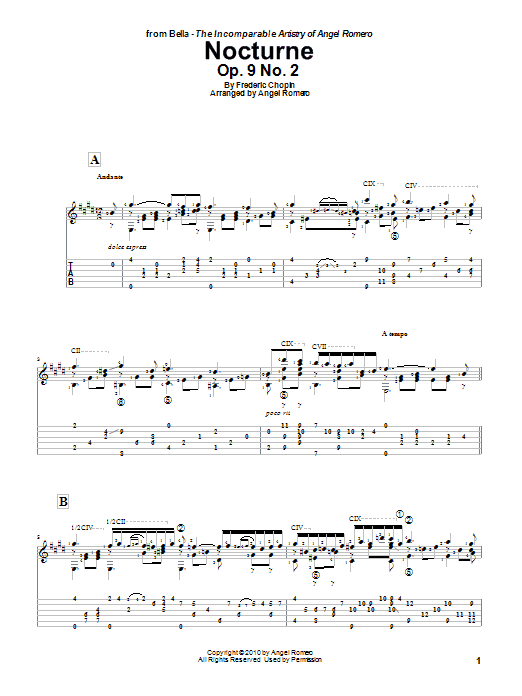 Angel Romero Nocturne, Op. 9 No. 2 sheet music preview music notes and score for Guitar Tab including 5 page(s)