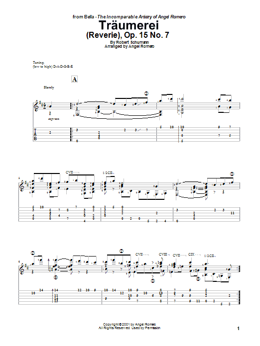 Angel Romero Traumerei (Reverie), Op. 15 No. 7 sheet music preview music notes and score for Guitar Tab including 2 page(s)