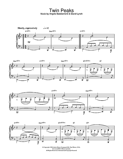 Download Angelo Badalamenti 'Theme from Twin Peaks' Digital Sheet Music Notes & Chords and start playing in minutes