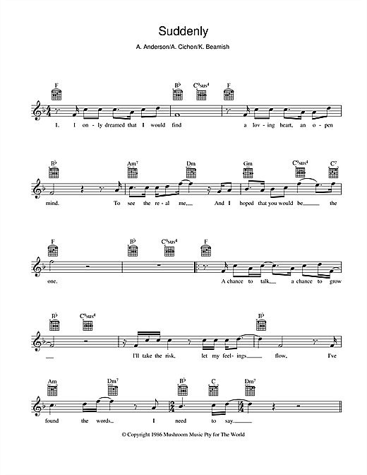 Download Angry Anderson 'Suddenly' Digital Sheet Music Notes & Chords and start playing in minutes